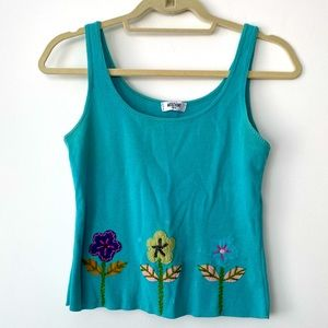 Moschino Tank Top Floral Embroidery Detail